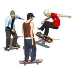 Four generic skaters in action.