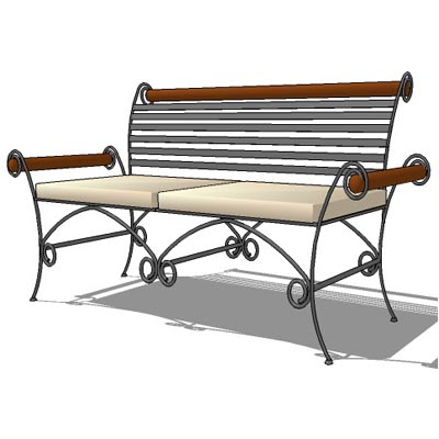 2 seater wrought iron bench.