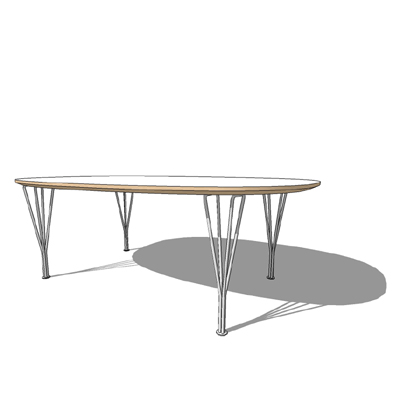 B212, Super Ellipse table by Fritz Hansen, The ser....