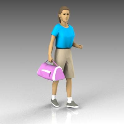 Teenage girl with sports bag.