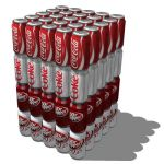 Very low poly soda cans in rows of five (82 faces ...