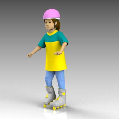 Girl on rollerblades.