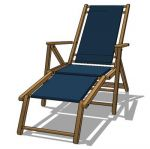 Foldable beach chair in canvas and teak frame