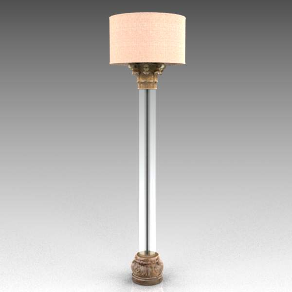 Corinthian column Lucite Floor Lamp from Restorati....
