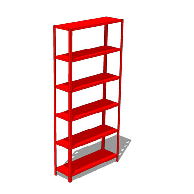 Red metal shelving suitable to hip interiors or sm....
