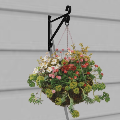 Billboard hanging basket on 3D bracket..