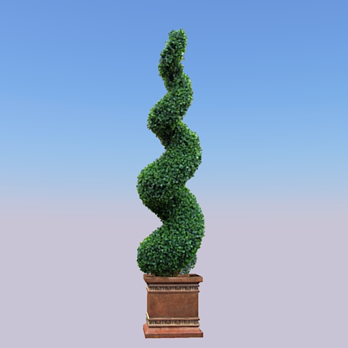 Topiary Spiral. 2D billboard plant in 3D pot and F....