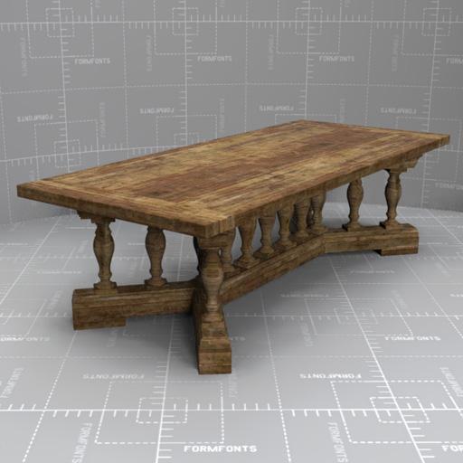 RH 15 Baluster Dining Table 3D Model
