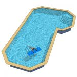Grecian True L shaped pool measuring 23.5 x 42.5 f...