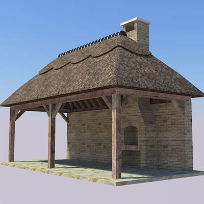 A selection of thatched garden lodges with open ov....