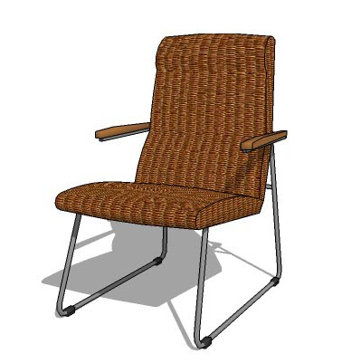 Wicker seat with chrome tube legs for
