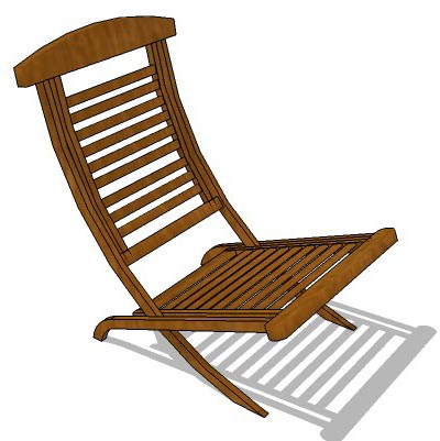 Foldable Indonesian teak chair for poolside