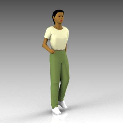Walking female figure.