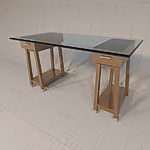 <br>Sawhorse Desk with Glass 