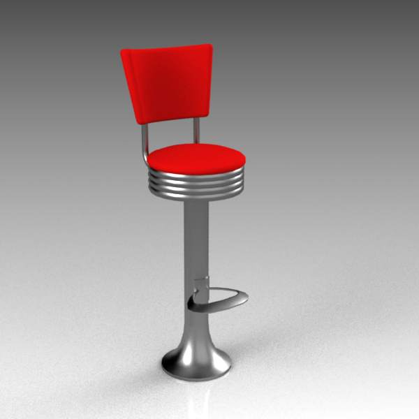 50's style bolt-down diner/bar stool with back and....