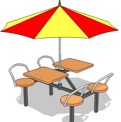Outdoor seating for fast food joint.