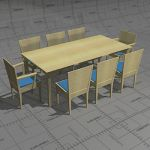 Box dining set, frame and top birch, seat upholste...