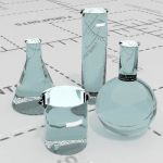Laboratory glassware. Low poly (single skinned)