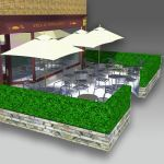 Simple box screening intended for sidewalk cafe, b...