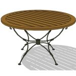 Wrought iron table with wood top