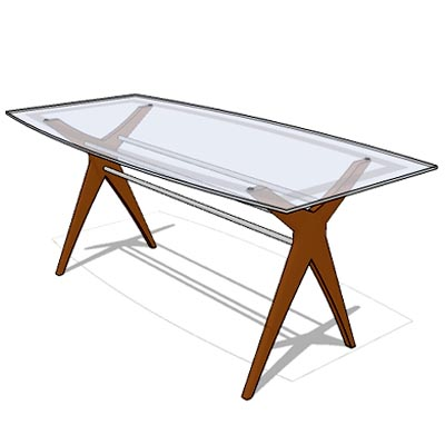 Glass top with cherry wood legs.