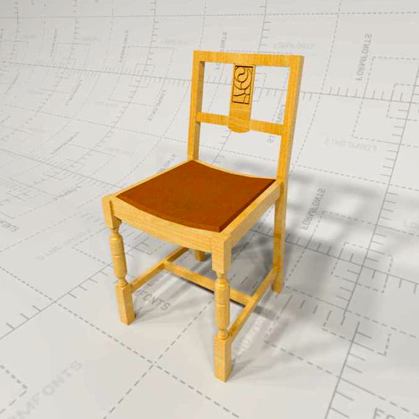 Oak Dining Chair, Revit Render 