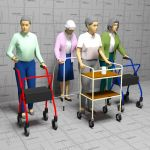 Elderly women with walkers
