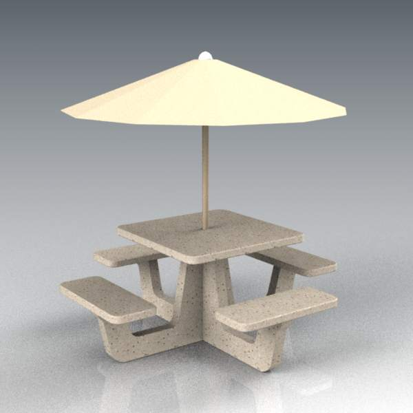 Concrete table and bench set; 3' / 1m diameter tab....