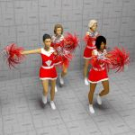 Cheerleaders, varios poses. Costumes 