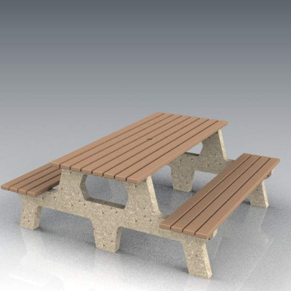 Concrete table and bench set; 6' / 183 cm long.