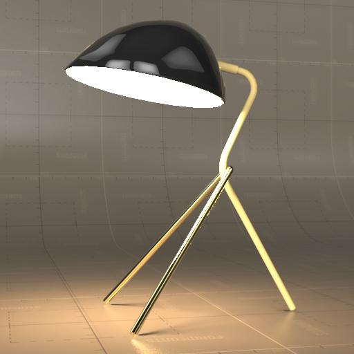 Curvilinear mid century table lamp 3d model formfonts 3d models curvilinear mid century table lamp 3d model aloadofball Images