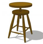 Round teak wood stool, adjustable height