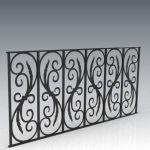Traditional style wrought iron balustrade; approx ...