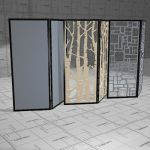 BuzziFalls Trio acoustic space dividers. Frame bla...