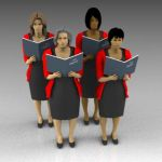 Female choristers with sheet music. 