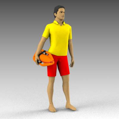 Lifeguard with bouy.