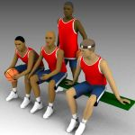 A basketball team in non-action 