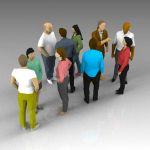 Very low poly group of people for 