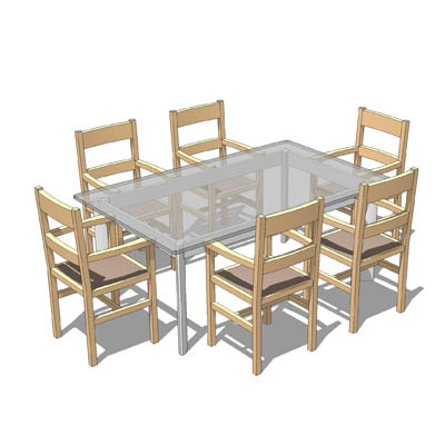 FREE DOWNLOAD:  Glass table with six dining chairs....