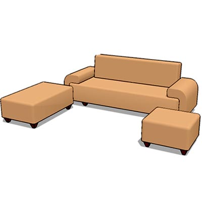Generic sofa set with movable L extension and otto....