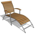 Fixed back pool chair with teak slats and metal fr...