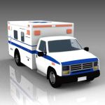 US type ambulance. On road, rear doors closed.