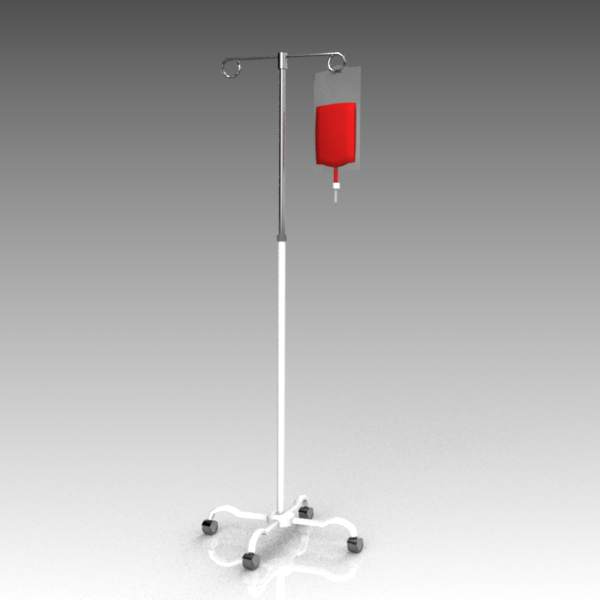 Intravenous drip stand with bag.