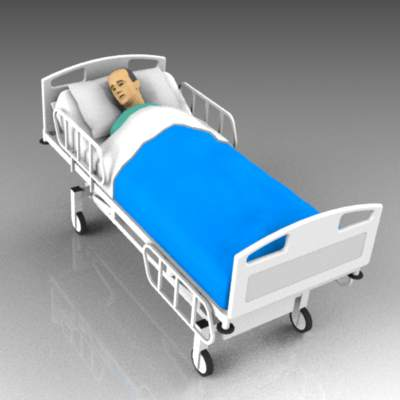 Male patient lying in hospital bed.