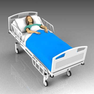 Female patient lying in hospital bed.