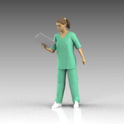 Female nurse in scrubs; reading a chart.