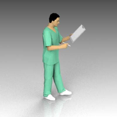 Male nurse in scrubs, reading chart..
