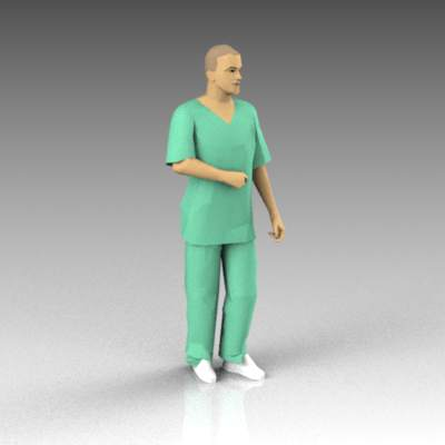 Male nurse wearing scrubs; casual pose..