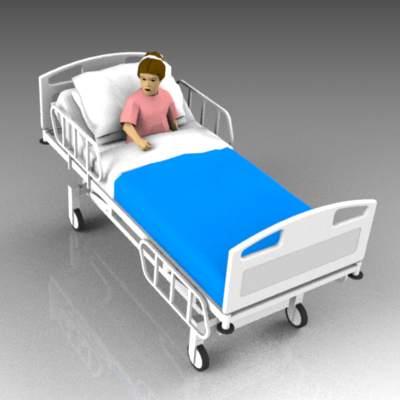 Small child in hospital bed.
