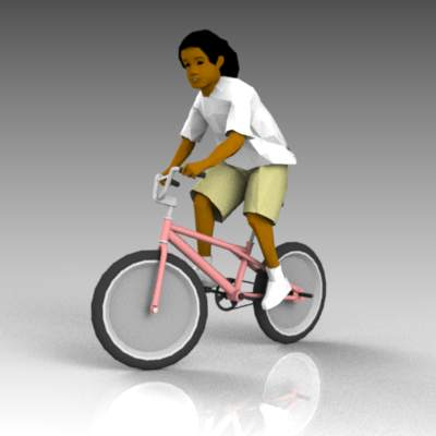 Teenage girl on bmx bike.
